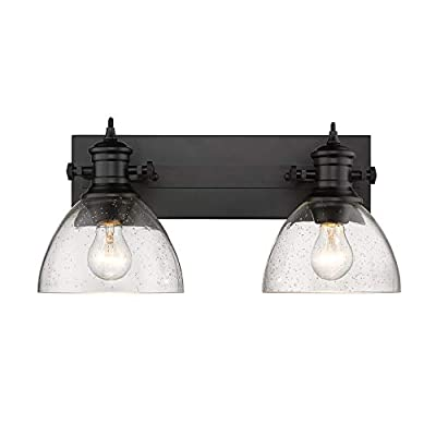 Golden Lighting 3118-BA2 BLK-SD Hines Vanity Light, Matte Black with Seeded Glass