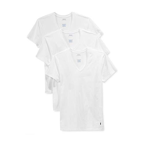 Polo Ralph Lauren Classic Fit w/Wicking 3-Pack V-Necks 3 White/Cruise Navy Pp SM