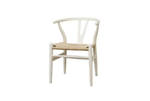 Baxton Studio Wood Wishbone Y Chair, Ivory