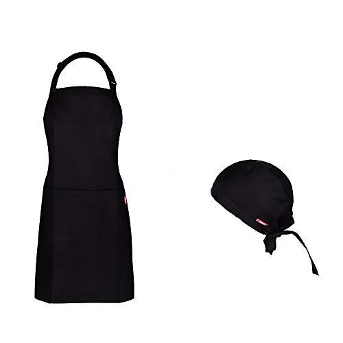 MKHB Schürze Kochschürze Küchenschürze 100% Baumwolle, verstellbares Nackenband, Kochmütze, Schwarz, Kochschürze für Männer & Frauen