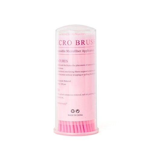Beauty7 200 Stücke Einweg Microbürstchen Wimpernverlängerung Reinigungsbürsten Wimpernbürsten Reinigungsstäbchen Minipinsel Wimpernbürsten Disposable Eyelash Extensions Micro Brushes - Farbe: Rosa