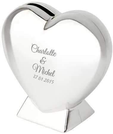 Smyla personalisiert Herz-Spardose mit Gravur | schöne Spardose Herz zur Hochzeit oder einem gemeinsamen romantischen Anlass | Silber, 9cm