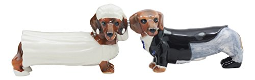 """Ebros Doxies Collection Royal Wedding Wiener Dachshunds Salt And Pepper Shakers Ceramic Magnetic Figurine Set 4.75""""L"""