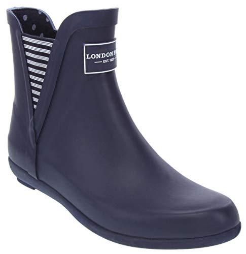 LONDON FOG Womens Piccadilly Rain Boot Navy 8 M US