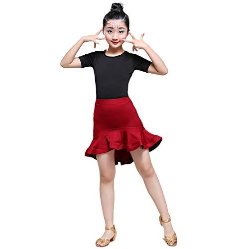 Tanzkleid Mädchen Latin Kleid Kinder Latein Salsa Tango Rumba Ballroom Tanzkostüm Tanzkleidung Performance Turnierkleid/140