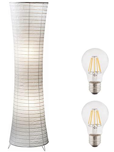 Stehlampe Wohnzimmer Weiß Papier mit LED - Stehleuchte Schlafzimmer Kinderzimmer Esszimmer Modern - Papierlampe Stehend 2 Flammig Papierschirm - Höhe 110 cm