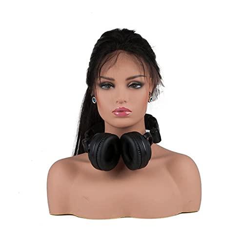 Mannequin PVC Mannequin Tête avec Épaules Réaliste Mannequin Tête Buste Perruque Tête Support pour Perruques Boucles d'oreilles Chapeaux Affichage