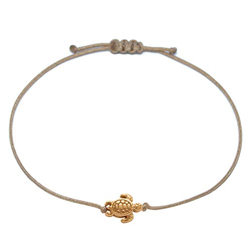 Schildkröten Armband Roségold - Braunes Textil Armband mit roségoldener Schildkröte - Handmade (Braun)