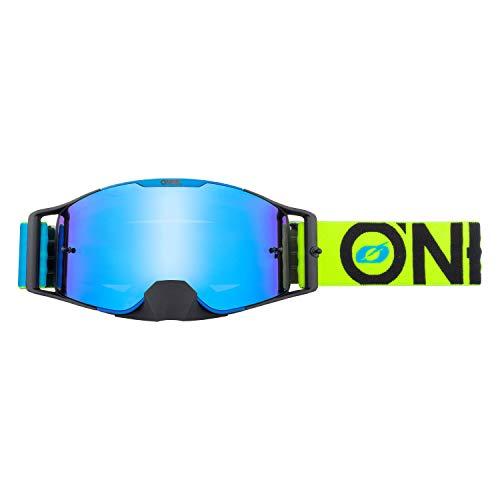 O'NEAL | Fahrrad- & Motocross-Brille | MX MTB DH FR Downhill Freeride | Verstellbares Band, optimaler Komfort, perfekte Belüftung | B-30 Goggle | Unisex | Blau Neon-Gelb verspiegelt | One Size