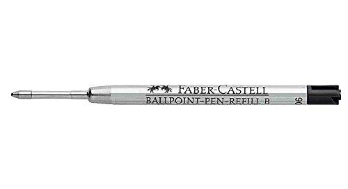 FABER-CASTELL 115826-Set de 3 cartuchos de tinta de recambio para bolígrafo de punta media, gran capacidad, color negro