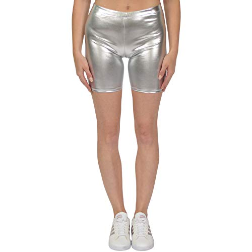 Stretch is Comfort Women's Bike Shorts Metallic Silver Medium