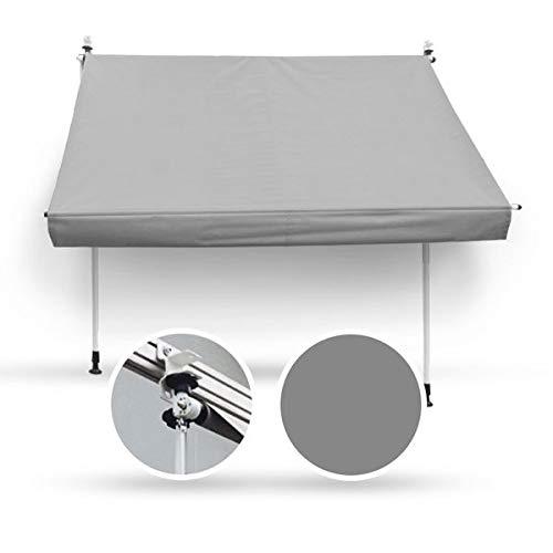 Wohnstyle24 200 x 120 Klemmmarkise Fallarmmarkise Markise grau Uni mit Handkurbel Sonnenschutz Sichtschutz
