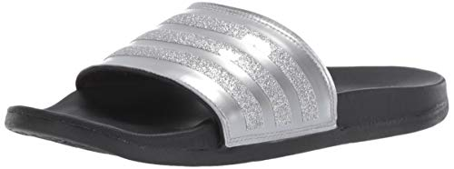 adidas Women's Adilette Comfort Swim Shoe, Silver Metallic/Black, 8 M US