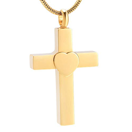 ZZHIYONG Ashes Necklace Keepsake Jewelry Memorial Cremation Urn Memorial Cross Heart Pendant Keepsake Jewelry for Ashes Holder Stainless Steel Necklace for