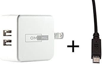 Omnihil 2-Port USB Charger & Micro-USB Cord Compatible with JBL Everest 700 V700BTGRY Wireless Headphones