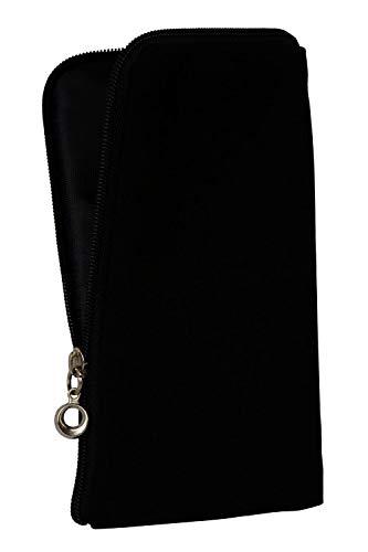 gtsk Handy Tasche Etui Hülle schwarz aus Stoff mit Zipper geeignet für Samsung Galaxy S8 S9 S10 - Ultra Slim ideal für Reisen, Outdoor, Rucksack, Jacken - Reissverschluss Soft Case