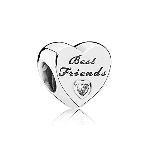 FGT Best Friends Charm for Bracelet Sterling Silver Friendship Heart Charm...