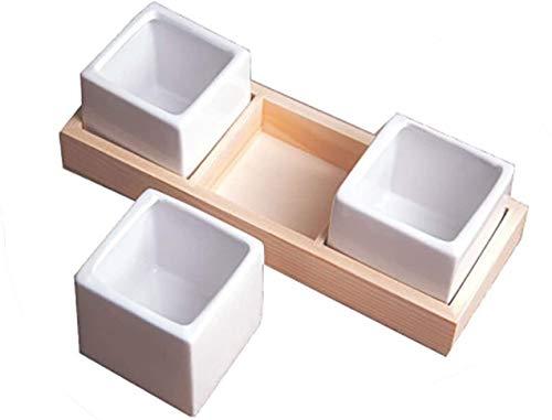 ZW18U Cerámica 3 macetas de cerámica, jardín contenedor de decoración para el hogar con Bandeja, Mesa de Oficina para Plantar macetas macetas para Plantas y Flores (Color: Blanco) Decoración