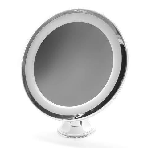 VARA Kosmetikspiegel mit LED Beleuchtung, 10x Vergrößerung, Stabiler Fuß mit starkem Saugnapf, batteriebetrieben, 360° schwenkbar, blendfreie Beleuchtung