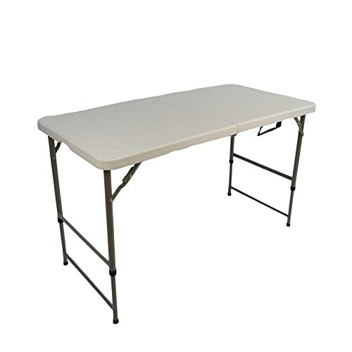 JYMTOM Folding Table 4FT 5FT 6FT Heavy Duty Trestle Table Camping Catering Indoor Outdoor with Carrying Handle for BBQ Picnic Party,4FT
