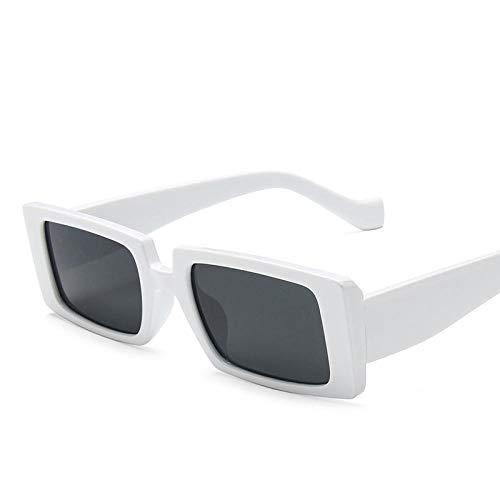 DLSM Gafas de Sol cuadradas Mujeres Gafas de Sol Hombres Street Shot Women Sunglasses Apto para Fiesta de Playa Conducción Gafas de Sol Golf-Blanca