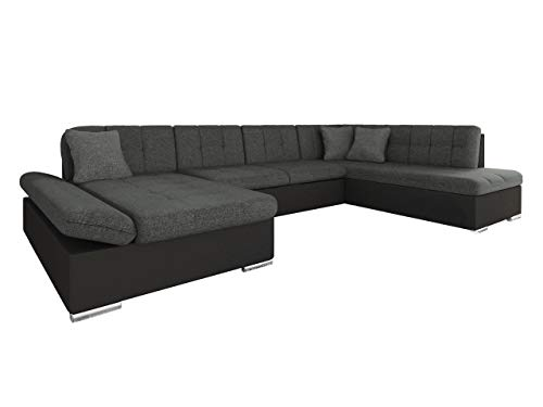 Mirjan24 Ecksofa Bergen Design Eckcouch mit Schlaffunktion und Bettkasten, Regulierbare Armlehnen, U-Form Sofa vom Hersteller, Wohnlandschaft (Soft 011 +...