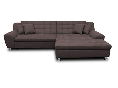 DOMO collection Morton Ecksofa | Sofa mit Schlaffunktion in L-Form, Eckcouch mit Bett, anthrazit, 304x200x84 cm
