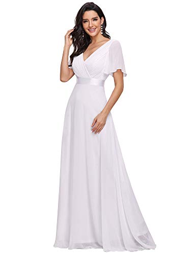 Ever-Pretty A-línea Vestido de Fiesta Cuello en V Manga Corta Gasa Corte Imperio para Mujer Blanco 36