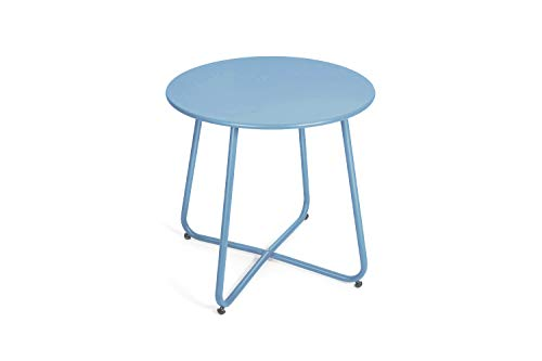 Pationate Patio Metal Side Table, Small Outdoor Bistro Round End Table (Turkish Blue)
