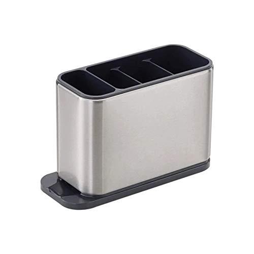 Porta Posate Portautensili Rettangolare da Cucina Portaposate 4 Scomparti in Acciaio Inossidabile Antiscivolo supporto per utensili da cucina Scolaposate