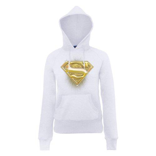DC Comics Damen Kapuzenpullover DC Comics Official Superman Bling Logo Womens Hooded Sweatshirt, Weiß - Weiß, S (Herstellergröße: S)