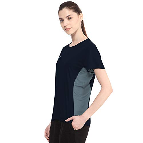 CHKOKKO Round Neck Half Sleeve Yoga Sports Dryfit Active Wear Gym Tshirt for Women Blue XL