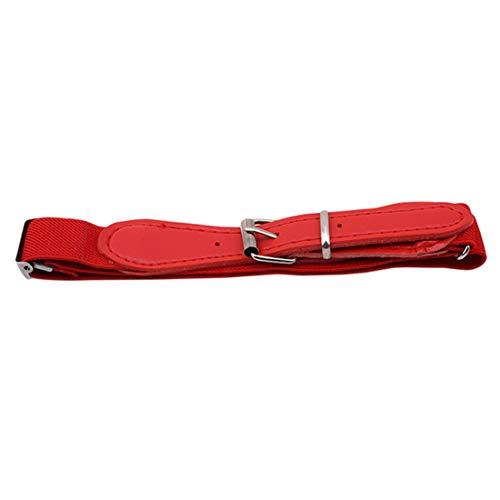 Kissherely Verstellbarer Elastischer Gürtel Für Kinder Mit Lederverschluss Multicolor Stretch Bund Für Mädchen Und Jungen (Rot)