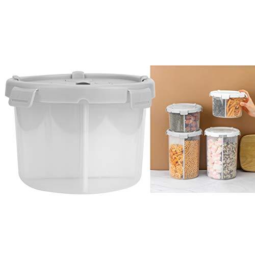 DFGH Cocina De Contenedor De Alimentos 4 Cuadrícula De Almacenamiento De Alimentos Desmontable Contenedor De Cereales Granos De Cereales Sellado Jarra Organizador1800ml Gris
