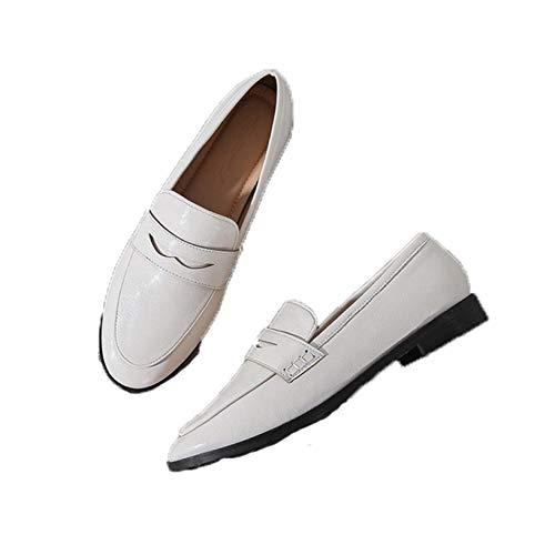 Zapatos Mary Jane para Mujer, Brogues Vintage, Zapatos Oxford de Punta Redonda, Zapatos de Vestir de Estilo Simple, Zapatos de Corte Casuales sin Cordones