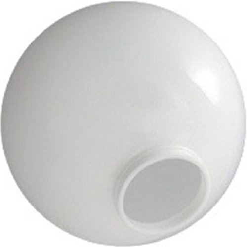 8 Inch White Acrylic Lamp Post Globe with 3.91 Inch Neck with Solid Flange