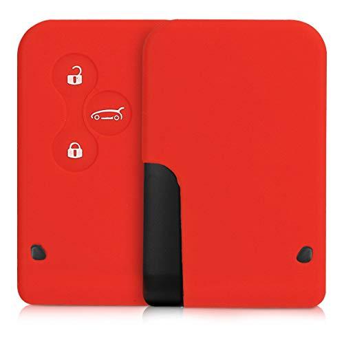 kwmobile Funda de Silicona Compatible con Renault Lave de Coche 3 Botones (Solo Keyless Go) - Carcasa Suave de Silicona - Case Mando de Auto Rojo