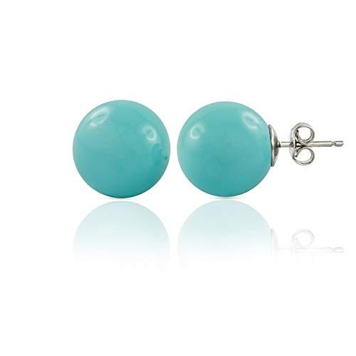 inSCINTILLE Pendientes de tuerca de plata rodiada con bola de color azul turquesa
