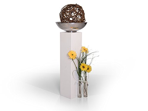 moebel-eins Blumensäule Fichte massiv Dekosäule Holzsäule Säule Landhaus Design (Weiss, 100 x 140 cm19 x 19 cm | 80 cm)