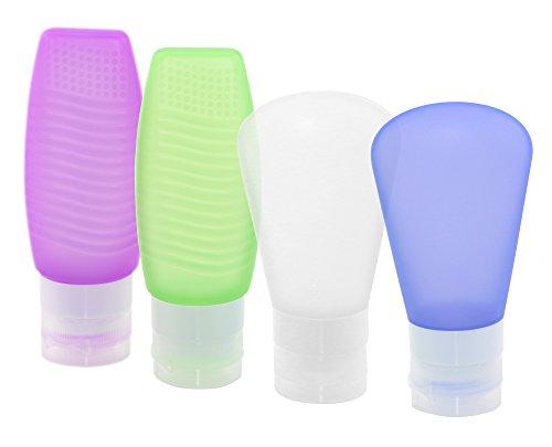Philonext 4 Reise-Flaschen für Toilettenartikel (Set), Silikon, ausflaufsichere Reiseflasche, Behälter für Accesoires/Shampoo/Spülung/Cremes, Lila, Blau, Grün und Klar, 2X 60 2X 78 ml