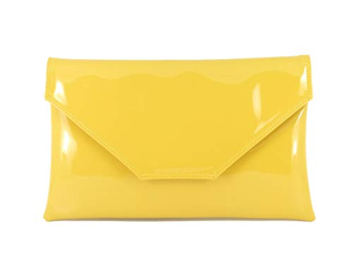 LONI Stylish Patent-Mustard - Cartera de mano para mujer Amarillo amarillo mostaza Large