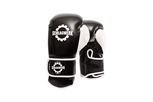 SCHLAGWERK Boxhandschuhe Black- White Carbon (Schwarz -Weiß, 12 Oz.)