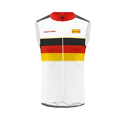 Uglyfrog® Brust Nationalflagge Pattern Design Weste Radweste Ärmellos Trikots & Shirts Jacke Tour de France Cycling Vest Atmungsaktiv für Fahrrad MTB, Schwarz 2XS-6XL