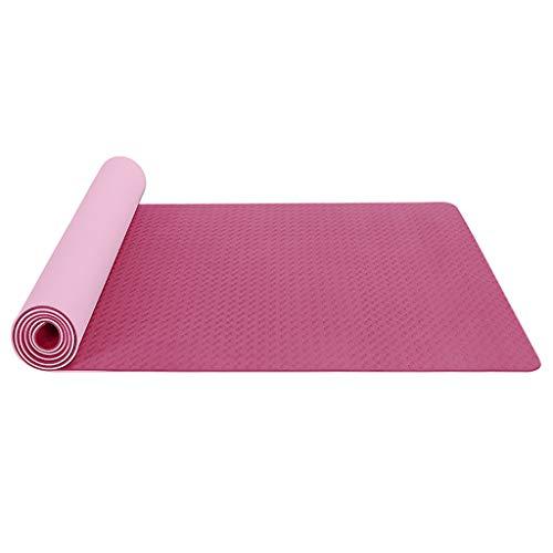 Andouy Yogamatte Fußmatten aus Hochdichtem Schaumstoff rutschfest Zweifarbig Trainingsmatte – 183X61X0,6CM – für Gym Yoga Sport Gymnastik Fitness Pilates(183X61X0.6CM.Rosa)