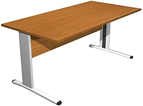 Ideapiu Bureau Noyer avec Structure métallique Desk with Panel Legs 1600x 800x 720H SP. Thick. 22