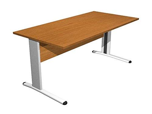 Ideapiu Scrivania Noce con Struttura Metallica Desk with Panel Legs 1400 x 800 x 720h Sp./Thick. 22