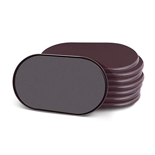 Ezprotekt Lot de 8 Pcs Ovale Pour Déplacer Rapidement et Facilement des Meubles Lourds Sur la Surface de la Moquette , Protégez les Tables et les Chaises, Marron