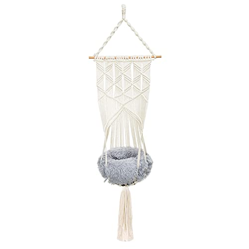 Hand Woven Macrame Cat Hammock Bed (Bed Included)- Hanging Macrame Style Cat Swing Bed with Soft Plush Weaving Cat Bed for Kitten Sleeping Playing Relaxing