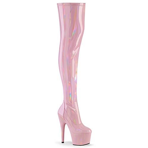Pleaser Damen ADORE-3000HWR Plateau High Heels Overknee Stiefel Stretch Lack Baby Pink 38 EU