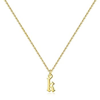 Ursteel Old English Initial Necklace Letter K Necklace 14K Gold Plated Letter Pendant Dainty Adjustable Tiny Initial Necklaces for Women Teen Girls